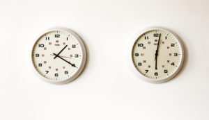 Stephanie - 2 clocks, 30 x 75 cms