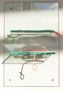 pretty in pink - rubber casts of surgical instruments, glass 35x40 cms