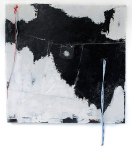 dancing with ghosts i - 105 x 105 cms, oils on collage of hospital gown and pyjamas