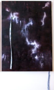 dancing with ghosts ii - 75 x 105 cms, oils on adult hospital gown
