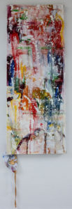 its not just black and white - 45 x 105 cms, oils on child's hospital gowns